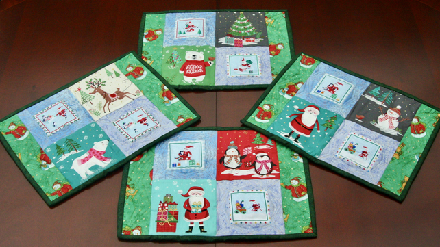 Four Festive Cotton Quilted Placemats