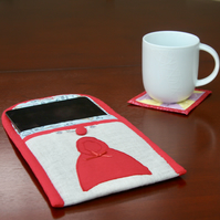 Fairytale Little red riding hood fabric Wallet style tablet case.