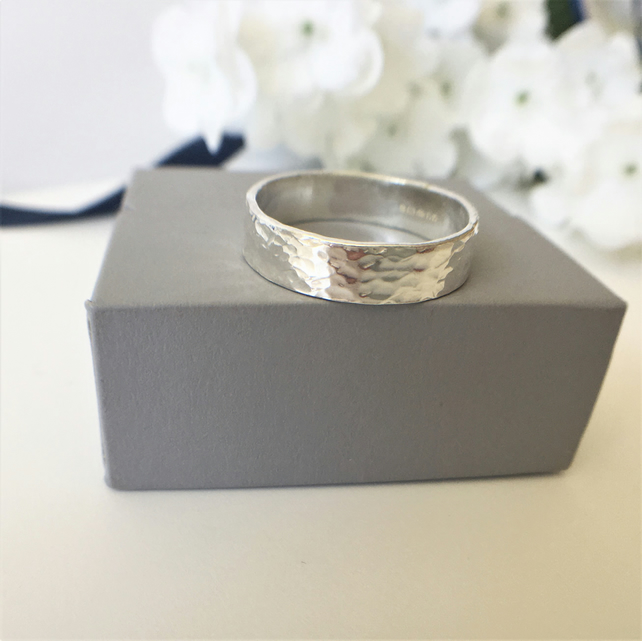 Eco Sterling Silver Textured Band Ring