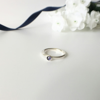 Rose Cut Iolite Eco Sterling Silver Ring