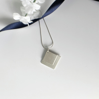 Double Square Eco Sterling Silver Pendant Necklace