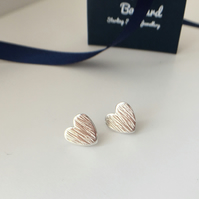 Eco Sterling Silver Heart Stud Earrings
