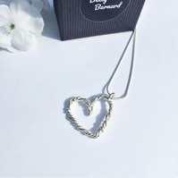 Twisted Wire Heart Pendant - Sterling Silver Necklace