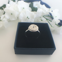 Eco Sterling Silver Wire Rose Ring