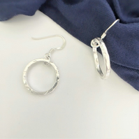 Textured Hoop Earrings - Eco Sterling Silver