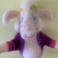 Small Soft Doll, Quirky Figure, Needle Felted Figure, Ugly Figure, Whimsical