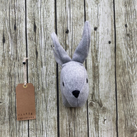 Wall mounted Rabbit head - Grey with green checked ears.