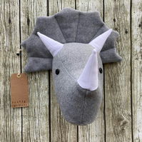 Wall mounted Triceratops head - Grey