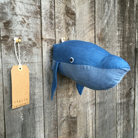Wall mounted Whale head with barnacles