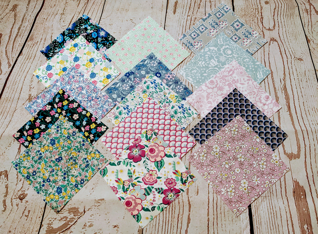 "Liberty Fabric 5"" x 5"" Squares Charms - Deco Dance Collection"