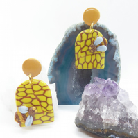 Honeycomb and Buymble Bee Polymer Clay Statement Earrings