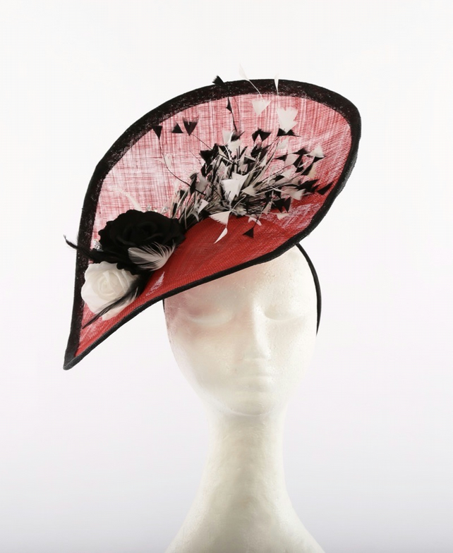 SALE Large Red Black White Fascinator ideal for Wedding Races Ascot Occasion Hat