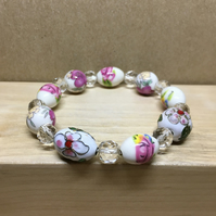 Vintage ceramic and enamel beads elasticated bracelet - Upcycled jewelry