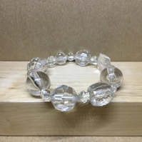 Expandable - Upcycled vintage clear acrylic beads elasticated bracelet