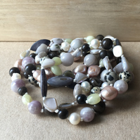 Vintage Semi Precious Stone, Shell, Fresh Water Pearl Hand Knotted Necklace