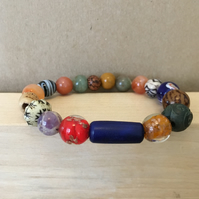 Expandable - Upcycled ceramic, acrylic and vintage beads elasticated bracelet