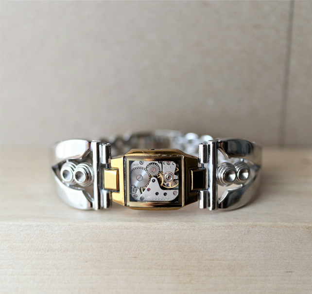 HALF PRICE - Up-cycled  stainless steel watch parts stylish bracelet