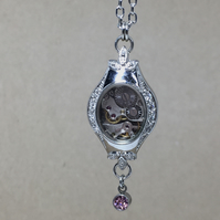 Up-cycled steampunk theme - Vintage ladies watch with faux diamond necklace