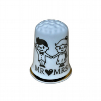 Mr & Mrs Wedding Couple Personalised China Thimble