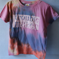 Tie dyed t shirt to fit around 3-4 years (104cm) with vinyl decal- Trouble Maker