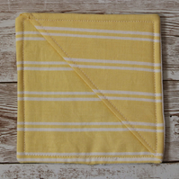 Large corner bookmark made from yellow and white stripe print cotton.