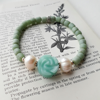 Amazonite, pearl and Indonesian glass stretchy bracelet with sterling silver