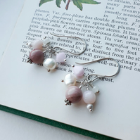 Blossom - rhodonite, pink opal, pearl, quartz and Swarovski crystal earrings