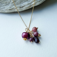 Summer Fruits - freshwater pearl, tourmaline, ruby and garnet cluster pendant