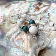 Santorini earrings - turquoise and white howlite earrings, sterling silver