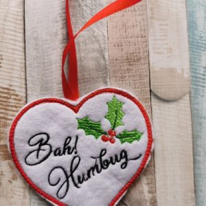 Bah Humbug Christmas Embroidered Heart