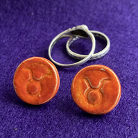Taurus Zodiac Symbol Stud Earrings
