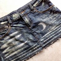 Hand Stitched Painted Re-Worked Denim Skirt