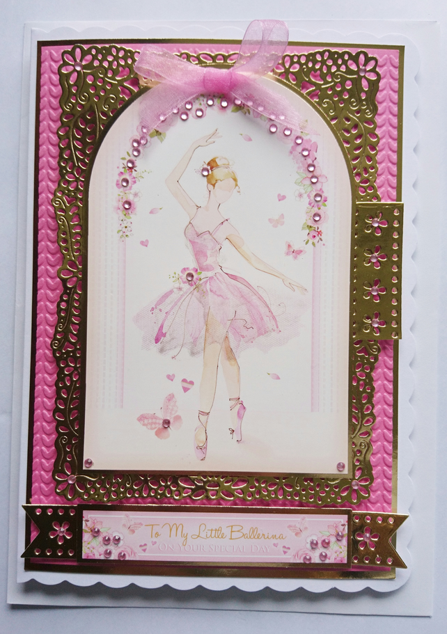 3D Luxury Handmade Card To My Little Ballerina On Your Special Day Birthday