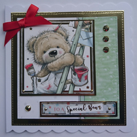 3D Luxury Handmade Card To A Special Bear Painting and Decorating Teddy Ladder