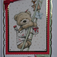 3D Luxury Handmade Card On Your Birthday Teddy Bear Painting Decorating Ladder