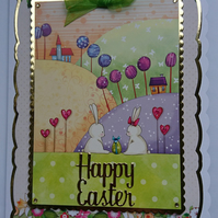 3D Luxury Handmade Card Happy Easter Cute White Bunnies Rabbits Easter Egg