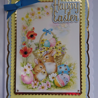 3D Luxury Handmade Card Happy Easter Cute Bunnies Rabbits Easter Eggs Basket