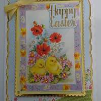 3D Luxury Handmade Card Happy Cute Easter Chicks Poppies Daisies Daffodils