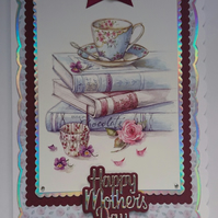 3D Luxury Handmade Card Happy Mother's Day Vintage Teacup Cupcakes Baking Books