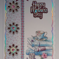 3D Luxury Handmade Card Happy Mother's Day Baking Books Vintage Teacup Cupcake