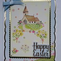 3D Luxury Handmade Card Happy Easter Village Church with Spring Flowers