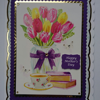 3D Luxury Handmade Card Happy Mother's Day Vase of Tulips Books and Cup of Tea