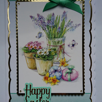 3D Luxury Handmade Card Happy Easter Spring Flower Pots and Easter Eggs