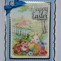 3D Luxury Handmade Card Happy Easter Bunnies Village Church and Easter Eggs