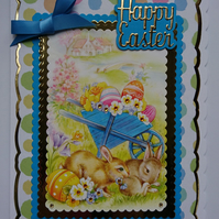 3D Luxury Handmade Card Happy Easter Cute Bunnies Wheelbarrow of Easter Eggs
