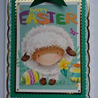 3D Luxury Handmade Card Happy Easter Cute Woolly Lamb Daffodil and Easter Eggs