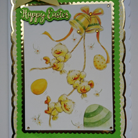 3D Luxury Handmade Card Happy Easter Cute Chicks Bells and Eggs