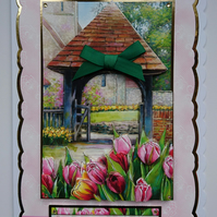 3D Luxury Handmade Card Sending Easter Blessings Your Way Church Tulips Daffodil