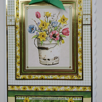 3D Luxury Handmade Card Lots of Love on Your Birthday Bucket of Spring Flowers