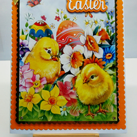 3D Luxury Handmade Card Happy Easter Chicks with Daffodils Eggs Spring Flowers